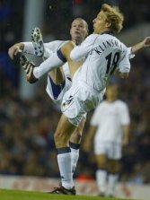 Jurgen Klinsmann and Paul Gascoigne appear to be going for the same ball here