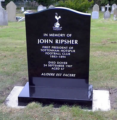 The headstone provided in honour of John Ripsher