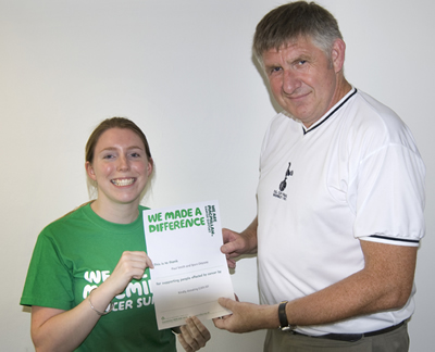 Paul Smith makes a presentation to Rebecca Steadman of Macmillan Cancer Support on behalf of Spurs Odyssey members